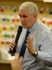 Indiana Gov. Mike Pence answers questions from fourth-graders March 12, 2015, in Richmond, Ind. Reports emerged Thursday that Pence could be Donald Trump's running mate.