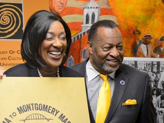 Alabama State University President Gwendolyn Boyd and Montgomery County Chairman Elton Dean, shown March 25.