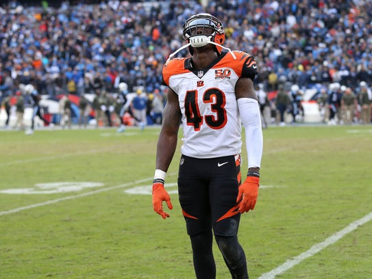 Cincinnati Bengals free safety George Iloka (43) reacts