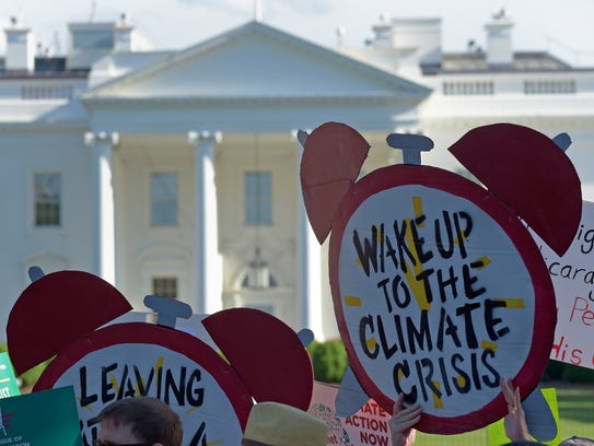 Protesters gather outside the White House in Washington,