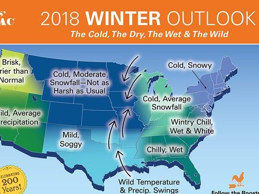 Farmers Almanac snow forecast 2017-18