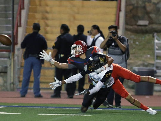 Bel Air receiver John Soto tries to make the reception