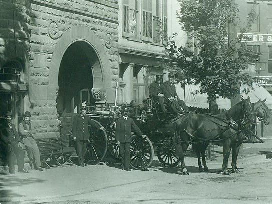 Richmond Fire Department Hose House No. 1 horses and