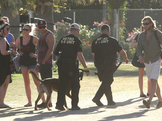 A K-9 Unit patrols the grounds during the second weekend