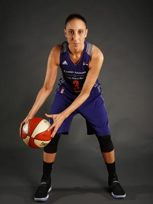 Phoenix Mercury star Diana Taurasi during media day on the Talking Stick Resort Arena on Monday, May 8, 2017 in Phoenix, Ariz.