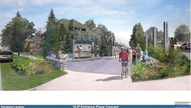This rendering shows where people in South Nyack would get on and off the pedestrian and bike path that will be part of the new Tappan Zee Bridge in 2018. The state recently acquired land on Cornelison Avenue through eminent domain that will be used for the small plaza.