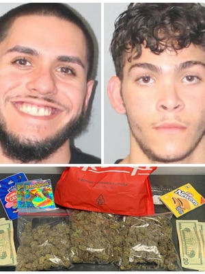 From left, Jose Antonio Mulet-Retamar Jr. and Rocco Giovanni Lumbrazo, both of Utica, New York, were arrested in Brockton with $5,000 worth of marijuana, according to police, Friday, June 12, 2020.