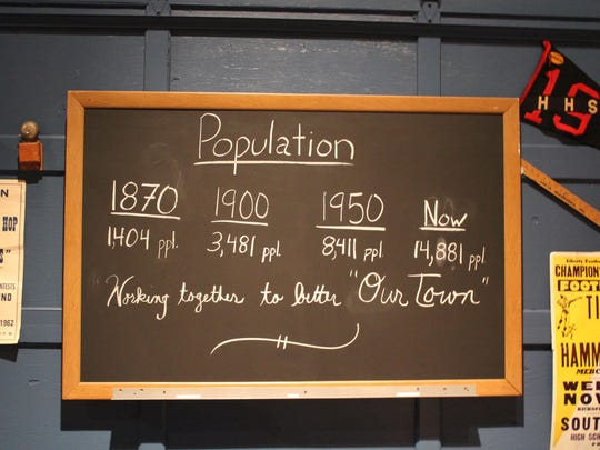 One of the features in the 150th Anniversary Exhibit at the Eagle Theater was a chalkboard that had the town's population throughout the years written on it.
