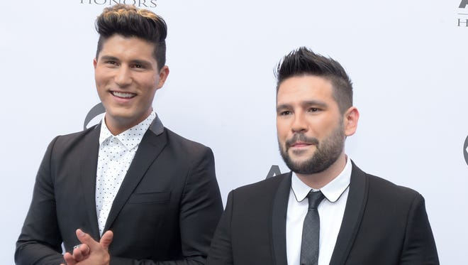 Dan + Shay on the red carpet at the 10th Annual ACM Honors at the Ryman Auditorium in Nashville, Tenn on August 30, 2016.
