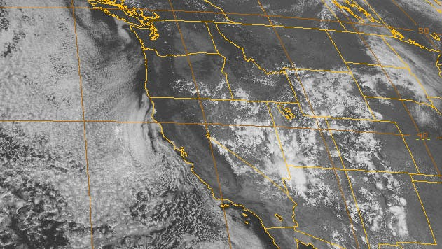 A National Weather Service satellite photo from this afternoon.