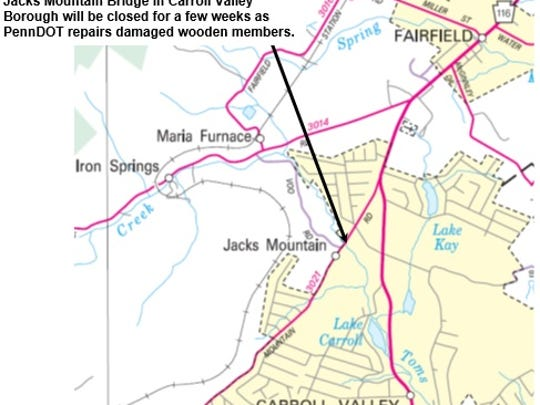 A map from PennDOT shows the location of Jacks Mountain Bridge in Carroll Valley Borough, which is expected to be closed for several weeks for repairs.