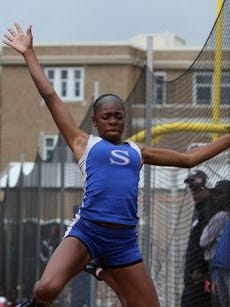 A Sayreville long jumper competes at the Blue Devil Relays at Westfield Saturday.
