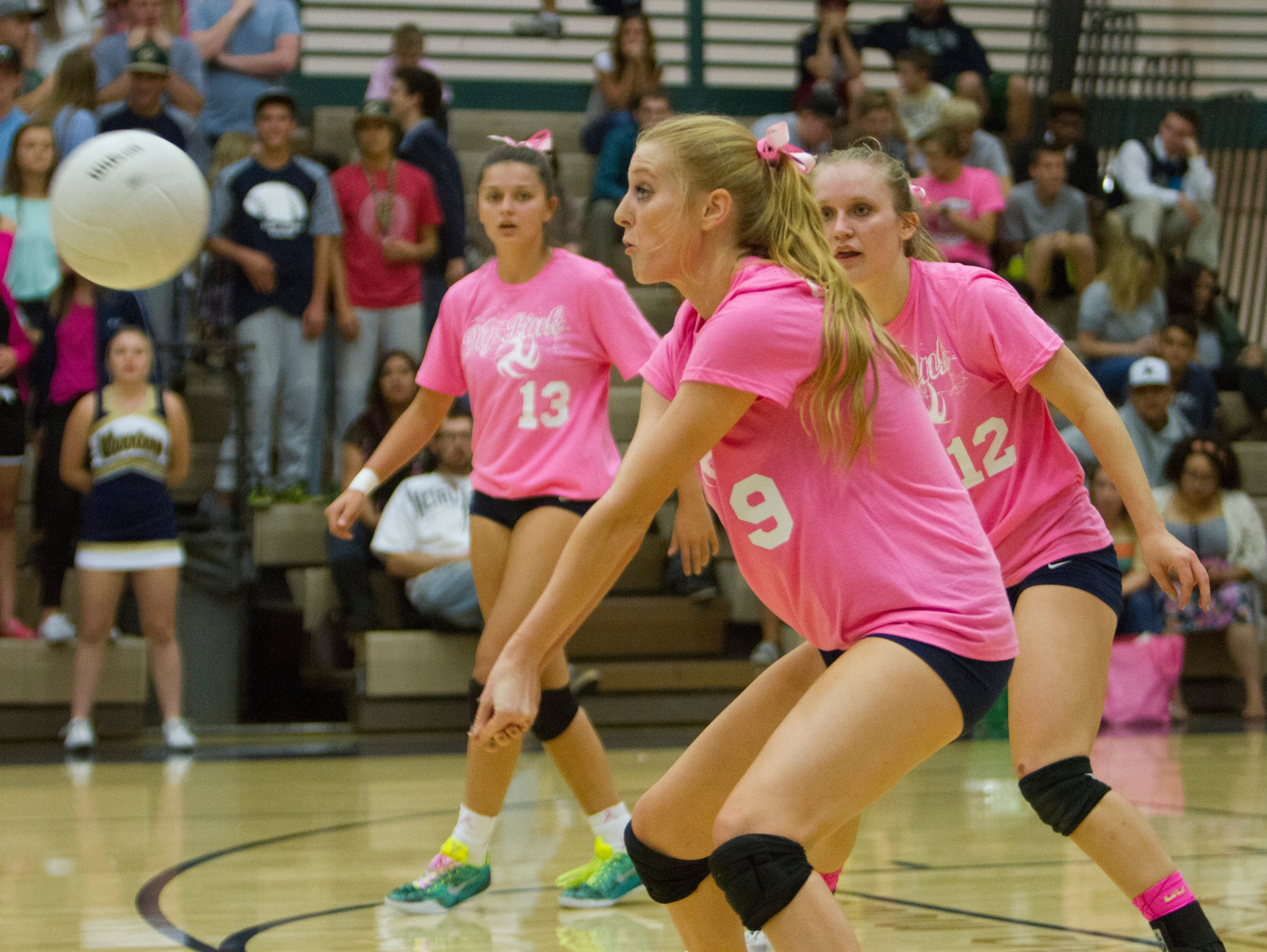 Snow Canyon's Nikenna Durante hits the ball with fellow seniors Shaylee Reed and Alexsa Parker moving into position. Snow Canyon finished the regular season with an undefeated region record.