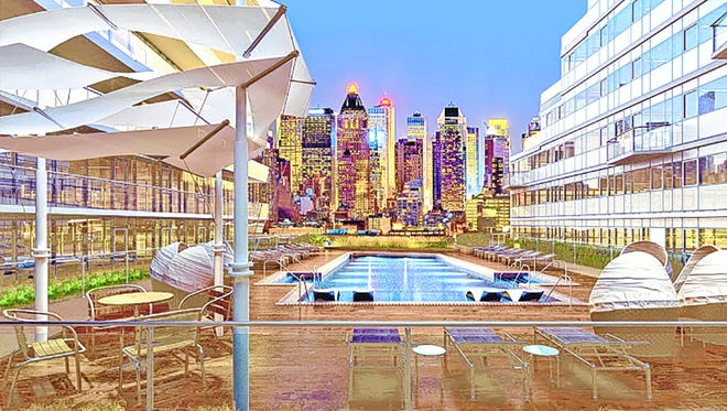 One of Avora's impressive highlights is its third-floor, landscaped outdoor plaza with pool and New York skyline view.