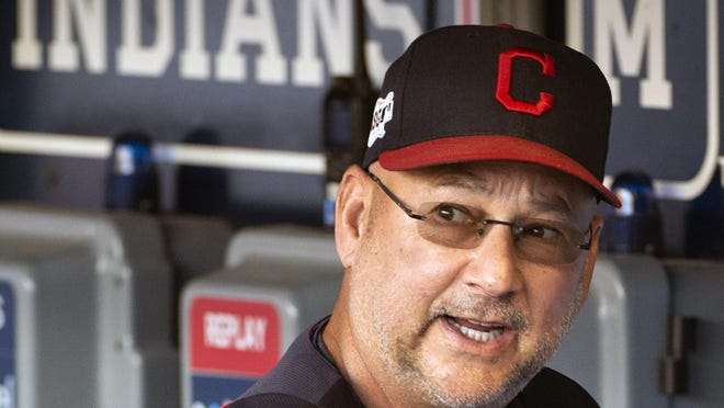 Cleveland Indians manager Terry Francona talks before a baseball game against the Philadelphia Phillies in Cleveland, Sunday, Sept. 22, 2019.