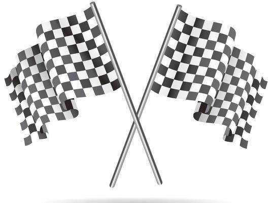 Waving Checkered racing flag. Vector illustration.