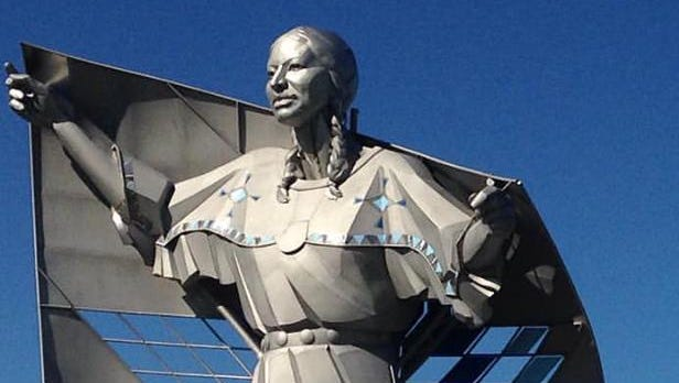 A 50-foot-tall sculpture is installed at the Chamberlain rest area this week.