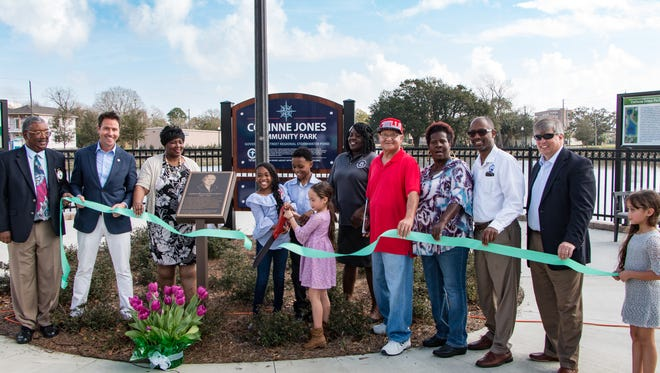 A ribbon cutting ceremony for the Government Street Regional Stormwater Pond at Corinne Jones Park on Saturday, Feb. 17, 2018.