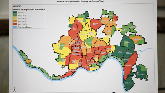 A chart showing the percent of population in poverty within Cincinnati during a press conference to announce a Community Benefits Agreement between FC Cincinnati and the city to support the West End and areas surrounding the proposed soccer stadium at Cincinnati City Hall in downtown on Monday, April 16, 2018.