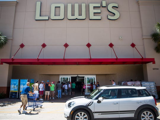 Customers line up outside of the Lowe's on US 41 and