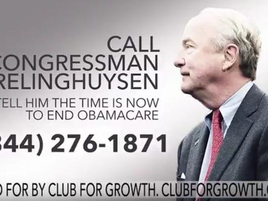 A screen capture from a TV ad running the week of April 16, 2017, urging voters to compel Rep. Rodney Frelinghuysen to back Republican measures to repeal Obamacare