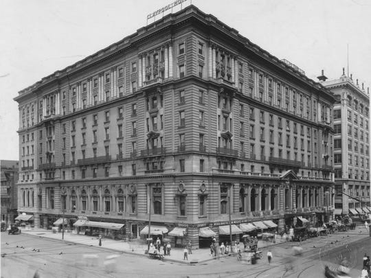 Gruesome murders haunted the once majestic Claypool Hotel (shown here in 1947), first in 1943 and again in 1954. The Claypool was situated at the corner of Washington and Illinois streets in Downtown Indianapolis.
