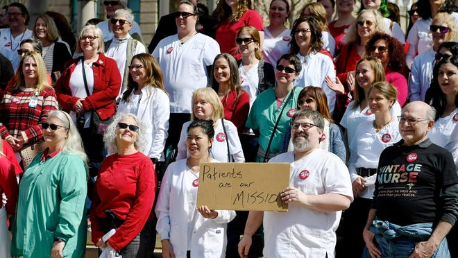 Mission nurses and supporters held a pro-union rally March 8 at Pack Square Park in downtown Asheville.