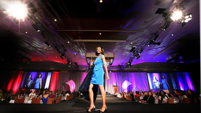 Thea Kelly takes command of the runway during the Stepping Out in Style fashion show.