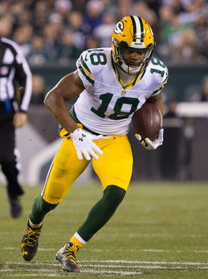 Green Bay Packers wide receiver Randall Cobb in action against the Philadelphia Eagles on Nov. 28 at Lincoln Financial Field.