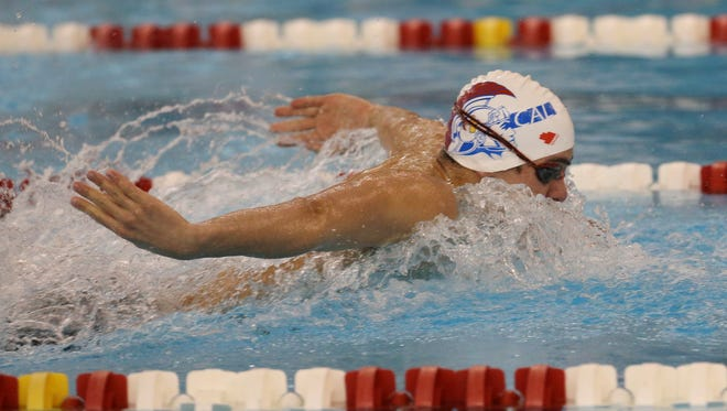 Christian Academy of Louisville's Nicolas Albiero wins the Boys 100 Yard Butterfly during the KHSAA Region 5 Championships.Feb. 9, 2017