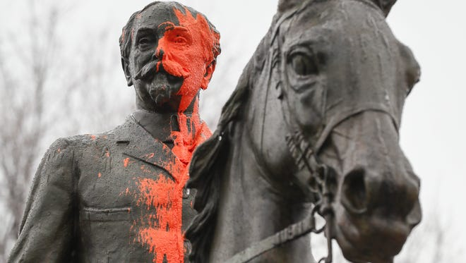 The John B. Castleman statue in Cherokee Triangle was again vandalized with orange paint. The first time it happened was in August after a violent white supremacist rally in Charlottesville, Virginia. February 7, 2018