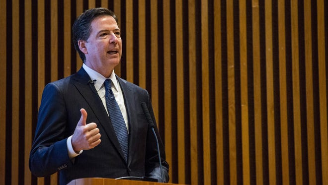 FBI Director James Comey speaks at the New York Police Department Shield Conference on December 16, 2015, in New York City.