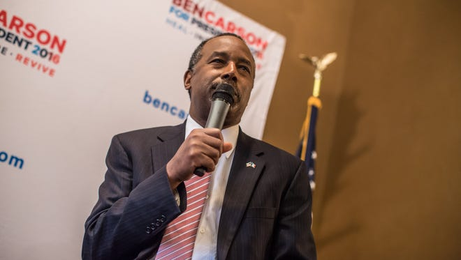 Republican presidential candidate Ben Carson speaks at a campaign event at Fireside Pub and Steak House on Sunday, Jan. 31, 2016, in Manchester, Iowa.