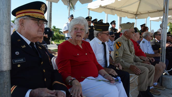 World War II veteran Herb Savage with his wife Emily. Hundreds gathered at Veterans Community Park on Marco Island at 11 a.m. Friday to commemorate Veterans Day.