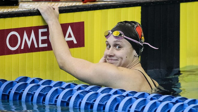 University of Louisville swimmer Mallory Comerford during the ACC Championships at the Georgia Tech Acquatic Center in Atlanta.