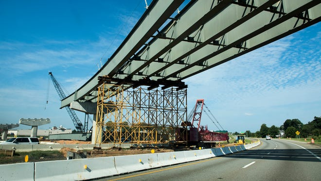 Construction continues on the Interstate 385 and 85 gateway on Monday, Aug. 28, 2017.