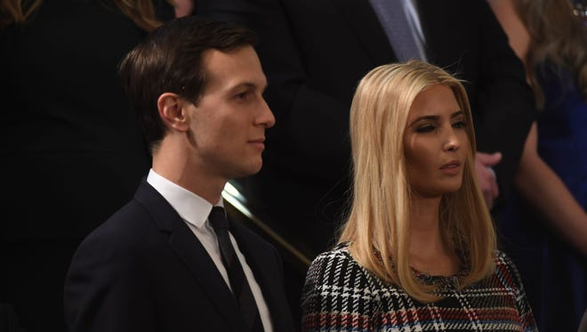 Jared Kushner, senior adviser to President Trump and Trump's son-in-law, and Ivanka Trump, advisor to President Trump and Trump's daughter, are seen before President Trump delivers the State of the Union address Jan. 30.