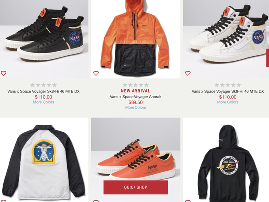 """Vans just released a new line of sneakers called """"Space Voyager"""" that pays homage to NASA, Engadget reports."""