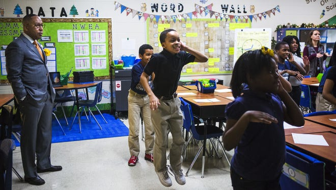 In this file photo,  Westhaven Elementary Principal Rodney Rowen observes the scene in Amber Todd's third-grade math class as students dance to a video. Westhaven Elementary principal Rodney Rowen observes the scene in Amber Todd's third grade math class on Jan. 13, 2017, as Tyjuan Horton (center), 8, dances along to a video with his classmates on Friday. Westhaven Elementary is a new school in the iZone. Under a Tennessee proposal of a new federal education law, local school districts will have the first opportunity to turn around struggling schools before the state considers a takeover.