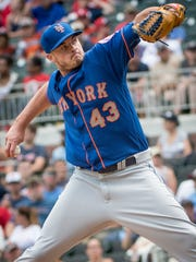 Mets relief pitcher Addison Reed in June against the  Braves in Atlanta. New York won 2-1.