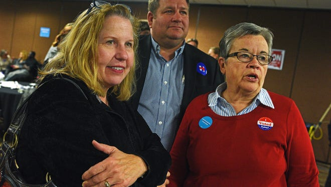 Democratic candidates for the South Dakota House of Representatives, from left, Ann Tornberg, Jamie Smith and Karen Soli watch election results during the South Dakota Democratic Party's Election Night event Tuesday, Nov. 8, 2016, at the Holiday Inn Sioux Falls City Centre in downtown Sioux Falls.