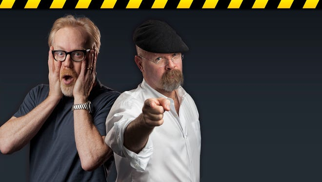 """MythBusters"" hosts Adam Savage, left, and Jamie Hyneman have adapted their Discovery Channel series for a live tour, which visits Ames on Monday."