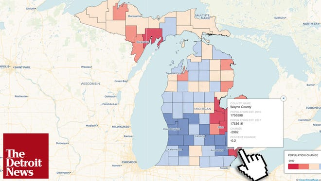Michigan's population increased by 28,866 residents, or 0.3 percent, to 9,962,311, as of July 2017, according to numbers released in December. That marked six straight years of growth for the state and its largest jump since 2001.