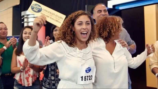 """Gianna Isabella gets the Golden Ticket with her mom Brenda K. Starr and dad Chris Petrone on """"American Idol."""""""