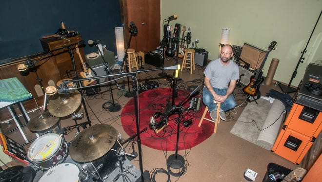 Audio engineer Robert Shimp, a native of Montgomery, in the new studio of Technical Earth Recordings.