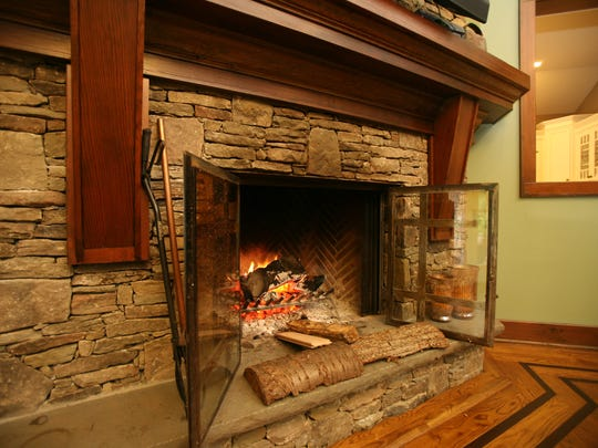 Detail of the fireplace in the great room in this newly constructed Craftsman house for sale, built on the former Chumleigh Farm in Ossining, photographed Oct. 10, 2012. ( Mark Vergari/The Journal News )