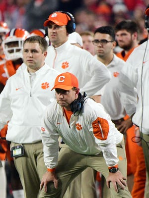 Clemson Tigers head coach Dabo Swinney looks on from the sideline during the second quarter in the 2016 CFP semifinal against the Ohio State Buckeyes at University of Phoenix Stadium.