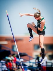 Fairfield's Cierra Phillips misses a jump in the pole vault during the PIAA track and field championships at Shippensburg University on Saturday.