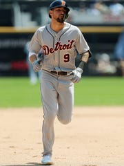 Jun 16, 2018; Chicago, IL, USA; Detroit Tigers right fielder Nicholas Castellanos runs the bases after hitting a two-run home run during the fifth inning against the Chicago White Sox at Guaranteed Rate Field.