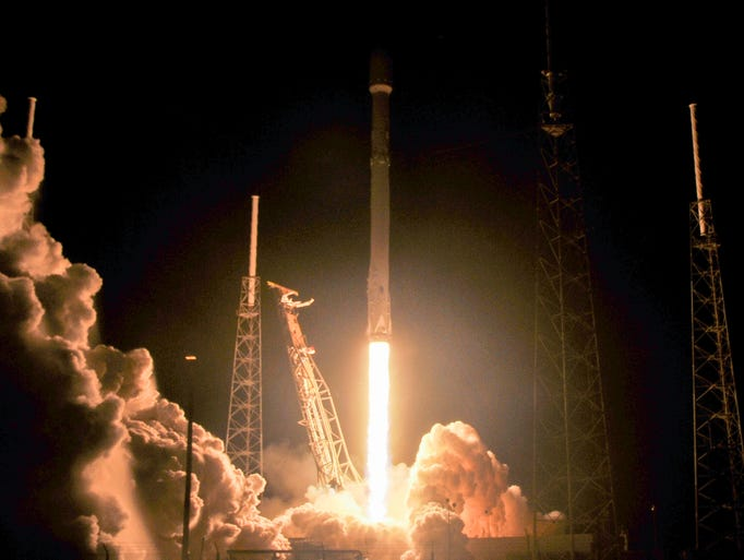 A SpaceX Falcon 9 rocket lifts off from Pad 40 at Cape